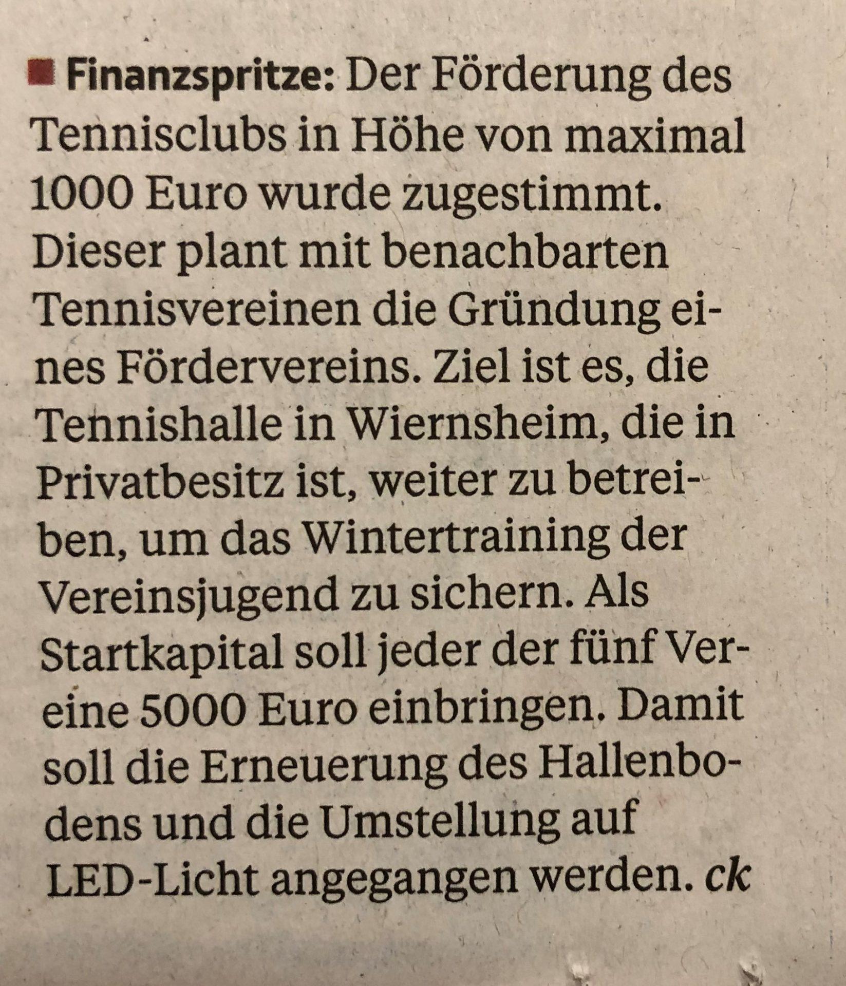 Finanzspritze / Pforzheimer Zeitung